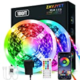LED Strip Lights, 100ft (2 Rolls of 50ft) Rope Light Strips with 44-Key Remote, RGB 5050 Color Changing Music Sync Led Strip, Phone App Control Led Lights for Bedroom, Living Room Home Decoration
