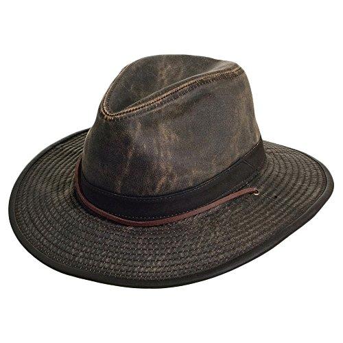 Village Hats Chapeau Australien en Coton Effet Usé Marron Dorfman Pacific - Large