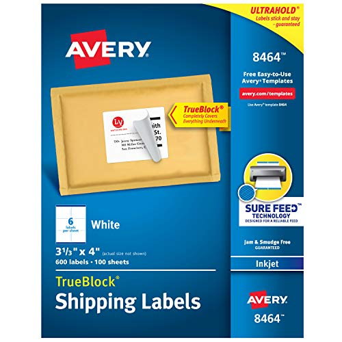 Avery Shipping Address Labels, Inkjet Printers, 600 Labels, 3-1/3x4 Labels, Permanent Adhesive, TrueBlock (8464)