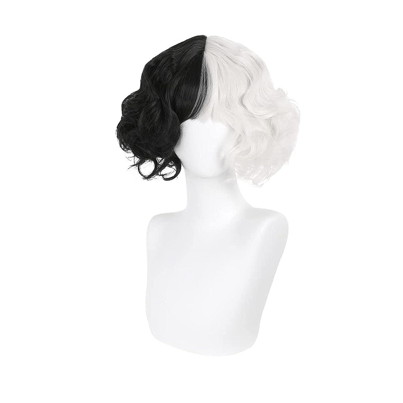 QYA Curella de Vil Cosplay Costume Ranking TOP15 Half Long Beach Mall Black Fluf And Wig White