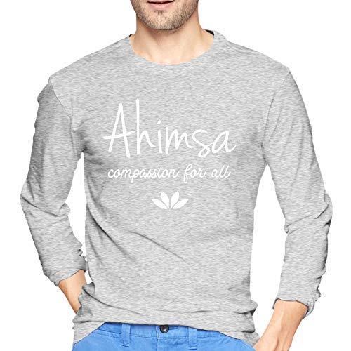 WGYWE Ahimsa Veganes Herren-Langarm-T-Shirt, Grafik, lässiges Sweatshirt, klassisches Top, schwarz Gr. XXL, grau