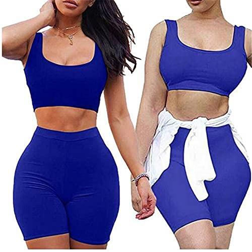 Dazzerake Mujer 2 unidades de entrenamiento liso sin mangas pecho bajo Fitness Running chándal atlético cintura alta banda elástica pantalones cortos deportivos de mujer turquesa M