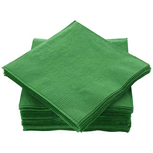 """Amcrate Big Party Pack 100 Count Green Beverage Napkins - Ideal for Wedding, Party, Birthday, Dinner, Lunch, Cocktails. (5"""" x 5"""")"""