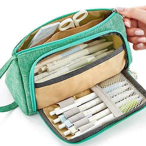 Federmäppchen Große Kapazität Federtaschen Teenager Mädchen Mäppchen mit Reißverschluss Frauen Make-up Tasche für Schule & Büro Weihnachtsgeschenk 20 x11 cm (Grün)