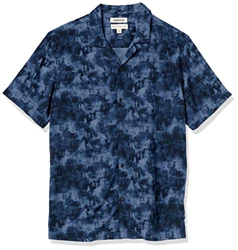 Goodthreads Standard-fit Short-Sleeve Camp Collar Hawaiian Shirt Camisa, Azul Marino, Teñido Anudado, M