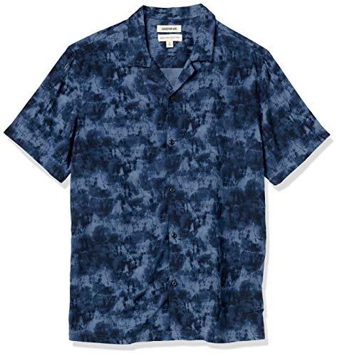 Goodthreads Chemise hawaïenne à Manches Courtes et col de Camping. Button-Down-Shirts, Bleu Marine Tie Dye, US XXXL (EU 5XL-6XL)
