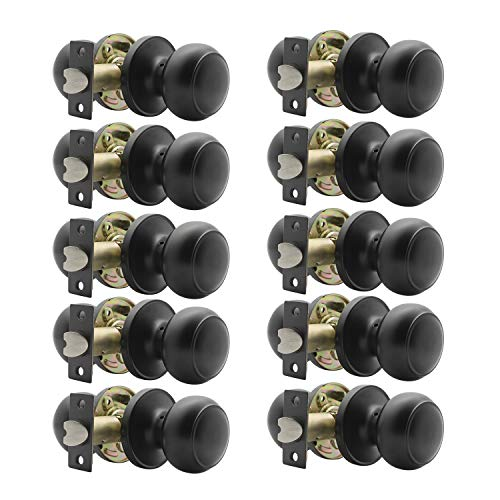 Modern Door Knob Passage Door Knob, Black Closet Door Knobs, Matte Black Finish, Interior/Hallway/Closet Door Use, 10 Pack