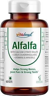 Vitabowl Alfalfa Calcium Citrate Malate 1200mg with Vitamin D, K2 (MK7), B12, Folic Acid, Magnesium & Zinc – 60 Veggie Tab...