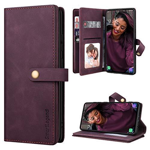 SmartLegend Handyhülle für Samsung Galaxy A51 Hülle Premium Leder PU mit 10 Kartenfach Flip Hülle Magnet Klapphülle Silikon Bumper Schutzhülle für Samsung Galaxy A51 Tasche - Wein Rot