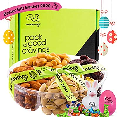 Easter Gift Basket For Adults, Candy Filled Eggs & Bunny, Gourmet Arrangement Nut Tray (4 Section) - Healthy Food Edible Platter - Snack Box For Family, Women, Men, Kids, Boys, Girls - Prime Delivery