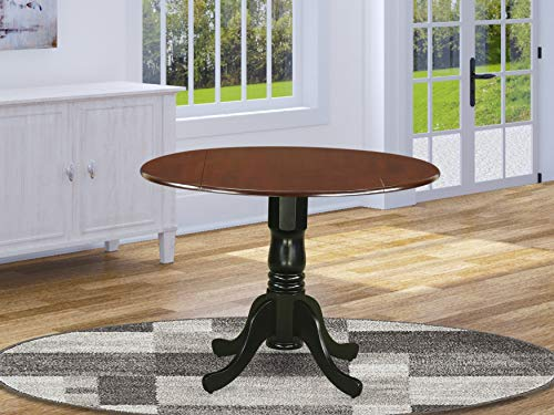 """East West Furniture DLT-MBK-TP Dublin Round Table with two 9"""" Drop Leaves in Mahogany and Black Finish"""