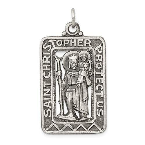 Solid 925 Sterling Silver Vintage Antiqued and Brushed Catholic Patron Saint Christopher Pendant Charm Medal