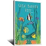 Poster, Motiv: Great Barrier Reef, Vintage-Reiseposter,