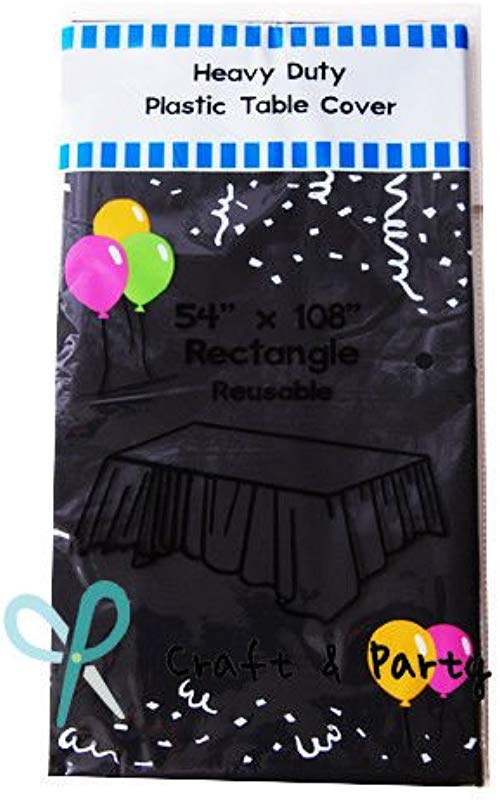 Evershine 12 Pack Heavy Duty Plastic Table Covers Tablecloth Reusable Rectangle 54 X 108 Black