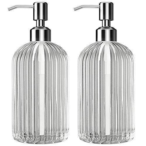 Kolyes Soap Dispenser - 2 Pack, 18 Oz Clear Vertical Striped Glass Refillable Premium Hand Soap Dispensers with 304 Rust Proof Stainless Steel Pump for Bathroom, Kitchen, Lotions
