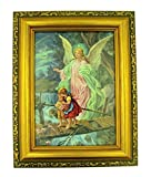 Italian Lithograph Guardian Angel Print in Antique Gold Tone Frame with Glass, 6 1/2 Inch