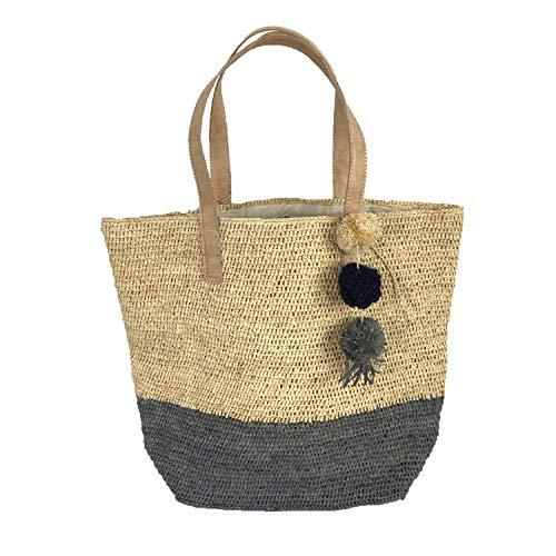 Mar Y Sol Montauk Crocheted Raffia Colorblock Tote Bag (Dove Grey)