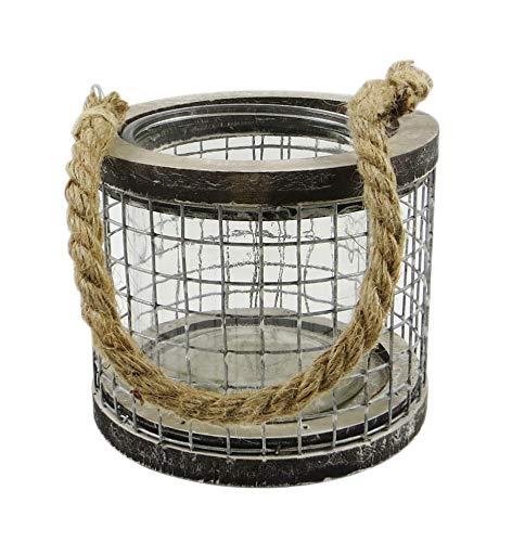 PARTS4LIVING Laterne aus Holz und Draht Windlicht mit Glaseinsatz Kerzenhalter Kerzenständer Industrie Design grau Natur 13,5x11,5 cm