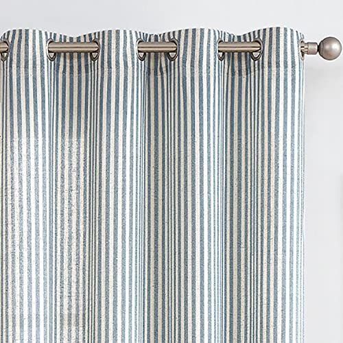 Linen Textured Drapes for Living Room Stripe Pattern Grommet Top Curtains Light Reducing Window Treatment Set for Bedroom 2 Panels 84 inch Long Blue