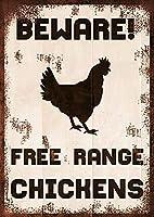 2個 無料範囲鶏警告サインレトロ昔ながらのファームバー中庭カフェレストランの壁の装飾鉄絵画金属板 12 × 8 インチに注意してください。
