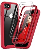 iPhone SE 2020 Case, iPhone 8 Case, iPhone 7/ 6s/6 Case with Tempered Glass Screen Protector [2 Pack], LeYi Full-Body Shockproof Bumper Clear Phone Cover Case for Apple iPhone SE/8/7/6s/6, Red