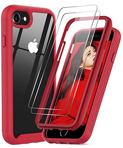 LeYi Compatible for iPhone SE 2020 Case, iPhone 8 Case, iPhone 7/ 6s/6 Case with Tempered Glass Screen Protector [2 Pack], Full-Body Shockproof Hybrid Phone Cover Case for iPhone SE/8/7/6s/6, Red