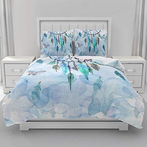 Morbuy Parure de lit 2 Personnes avec Housse de Couette en Microfibre + Taies d'oreillers 65x65cm, 3D Imprimé de Attrapeur de rêves Sets de Housse de Couette (Bleu Romantique,220x240cm)