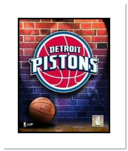 Detroit Pistons NBA Double Matted 8x10 Photograph Team Logo and Basketball