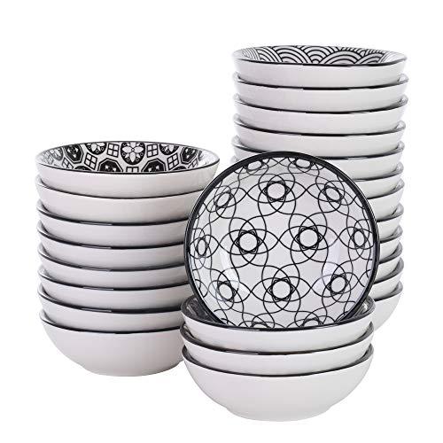 vancasso Cuencos de Salsa, Tazones, Platos de Aperitivo Set 24 Piezas Pintado a Mano Japonés Estilo 3,5 Pulgadas Gris Vajillas de Porcelana