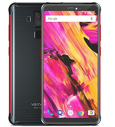 Vernee V2 Pro - 5.99 Pulgadas FHD + (relación 18: 9) Impermeable/A Prueba de Golpes / 4G Smartphone Android 8.1, Octa Core 6GB + 64GB, Carga rápida de la batería 6000mAh - Negro y Rojo