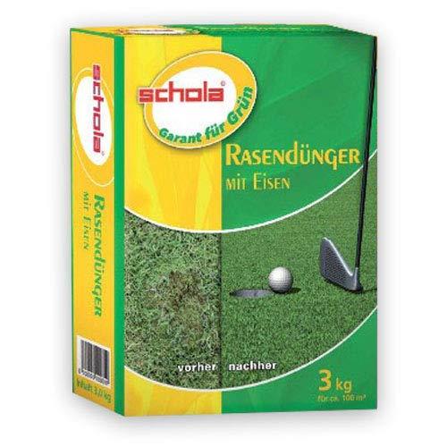 Schola Rasendünger mit Eisen 3kg für ca 100 m²- Frühjahrsdünger für alle Rasen Anlagen - ob Zierrasen Gebrauchsrasen Sportrasen gegen Moos und Unkraut