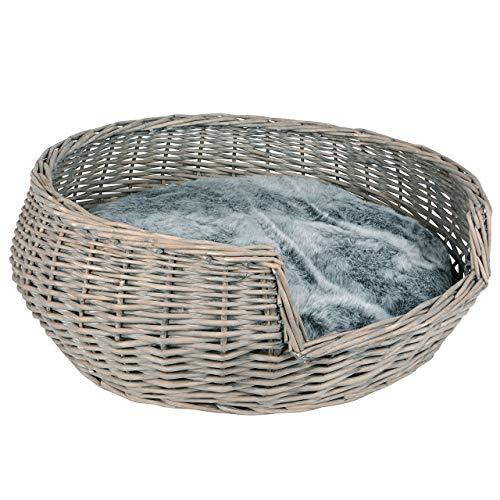 RM E-Commerce Cama para perros, cesta para perros, de mimbre, diámetro de 65 cm, con cojín gris, para perros y gatos