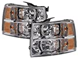 PERDE Chrome Housing Halogen Headlights With Performance Lens Compatible with Chevrolet Silverado 1500 2500 HD 3500 Includes Left Driver and Right Passenger Side Headlamps