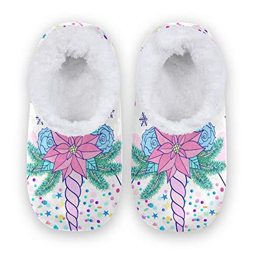 TropicalLife BGIFT - Pantuflas de espuma viscoelástica para el hogar, con forro polar suave, para interiores y exteriores, para dormitorio, antideslizante, para casa