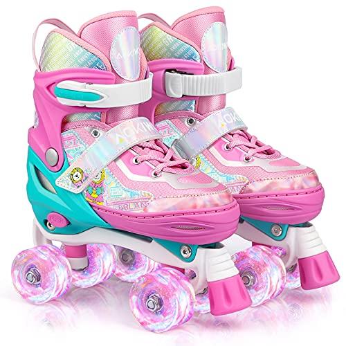 Roller Skates for Kids Girls Boys 4 Size Adjustable Roller Skates with Wheels Light up for Children, Teens, Beginner & Advance, Indoor Outdoor (Pink,...