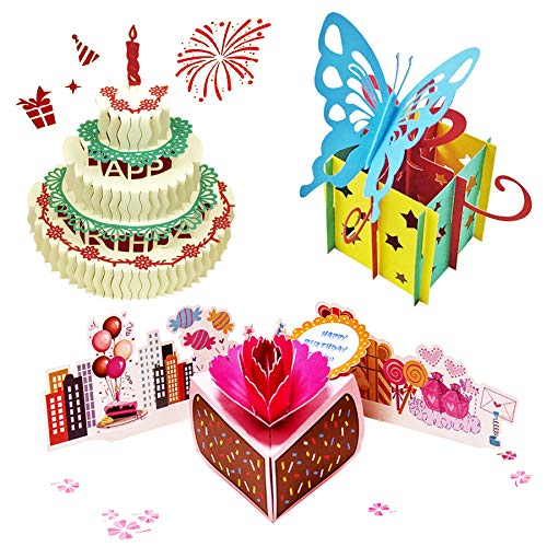 3D Pop Up Birthday Cards,Birthday Pop Up Greeting Cards Laser Cut Happy Birthday Cards Including Envelopes and Glues Best for Mom,Wife,Sister, Boy,Girl,Friends 3 Pack