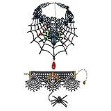 Polly Online Girocollo in Pizzo di Halloween Collana di Ragno Nero e Braccialetto per la Festa di Halloween