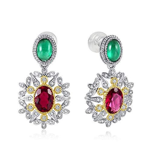 Beydodo Pendiente Mujer Plata Verde Rojo Oro,Pendientes de Oro Blanco 18 Kilates Flor con Oval Diamante Turmalina Roja 1.1ct