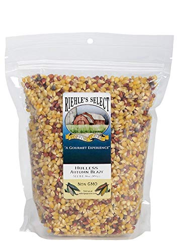 Riehle's Select Popping Corn - Hulless Autumn Blaze Old Fashioned Whole Grain Popcorn - (28oz) Resealable Bag - Non GMO, Gluten Free, Microwaveable, Stovetop and Air Popper Friendly
