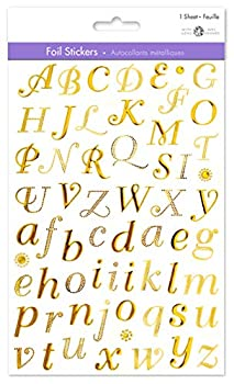 Gold Letter Stickers Gold Alphabet Stickers Gold Sticker Letters Adhesive Letters Stickers Sticky Letters Small Letter Stickers Self Adhesive Letters 3/4  Cursive Style Uppercase & Lowercase  1
