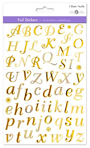 Gold Letter Stickers Gold Alphabet Stickers Gold Sticker Letters Adhesive Letters Stickers Sticky Letters Small Letter Stickers Self Adhesive Letters 3/4' Cursive Style Uppercase & Lowercase (1)