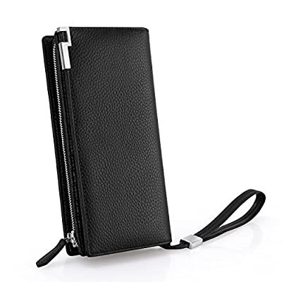 Bifold Mens Long Zipper Leather Wallets RFID Blocking Checkbook Organizer with Large Cash Compartment & 15 Credit Card Slots Black