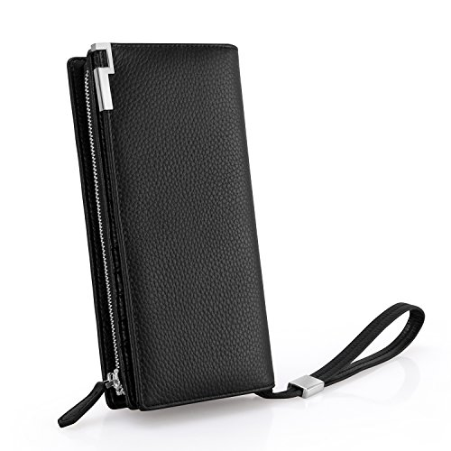 Geldbeutel Männer/Geldbörse Herren, Everwell Premium Leder Lange Portemonnaie mit RFID Schutz, Brieftasche für Handy Unter 6,6 Zoll Iphone6/7/8/X, Viele Fächer Groß Portmonee mit Reißverschluss