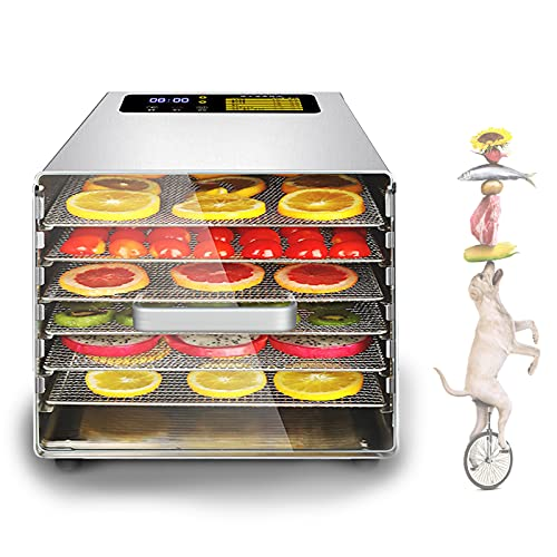 EFGS 6 Paletas Deshidratador Fruta,38l Secadora De Alimentos,Secadora Fruta Rango De Temperatura 20 ~ 90 Grados para Cecina, Hierbas, Carne, Ternera, Frutas Y Verduras Secas(220v)