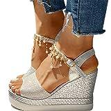 XXZ Sandalias Mujer Verano Cuña Sandalias Cómodos Casual Zapatos de Playa,Plata,38