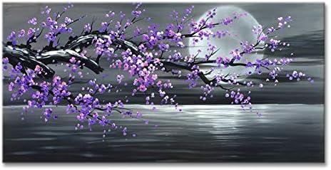 Konda Art Framed Handmade Purple Flower Oil Painting On Canvas Abstract Wall Art Artwork for product image
