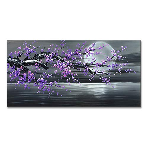 "Konda Art Framed Handmade Purple Flower Oil Painting On Canvas Abstract Wall Art Artwork For Kitchen Stretched Ready to Hang (Framed 48"" W x 24"" H)"