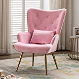 Artechworks Velvet Accent Dinning Chair High Wingback Arm Chairs with Golden Legs & Pillow for Living Dining Room Bedroom Reception Chair, Pink