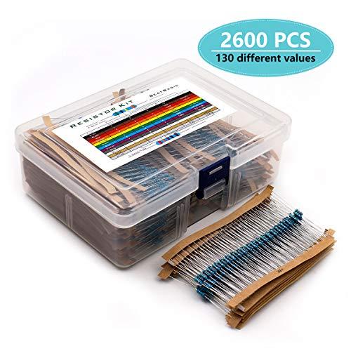 YunTech 2600pcs Kit de résistance électrique 130 Valeurs 1 Ohm-3M Ohm 1/4W avec boîte en Plastique Composants électroniques pour Projet expérimental et Projet expérimental