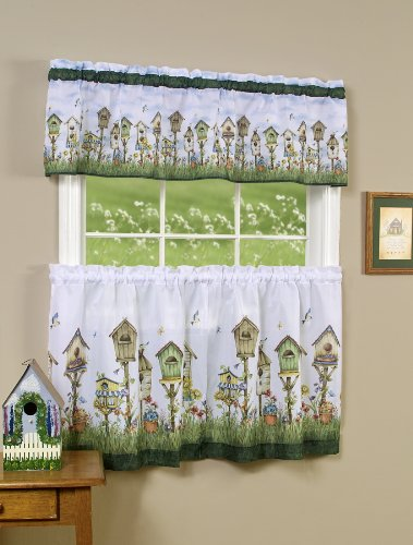 """Achim Home Furnishings Sweet Home Tier and Valance Set, 58 36-Inch, Multi, 58"""" x 36"""", Multicolor"""